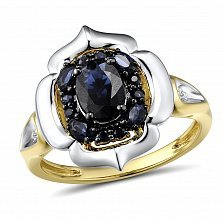 Кольцо из желтого и белого золота Донна с бриллиантами и сапфирами