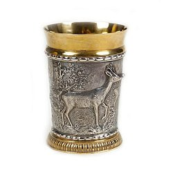Серебряный стакан Олень с позолотой