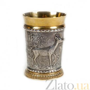 Серебряный стакан с позолотой Олень 562