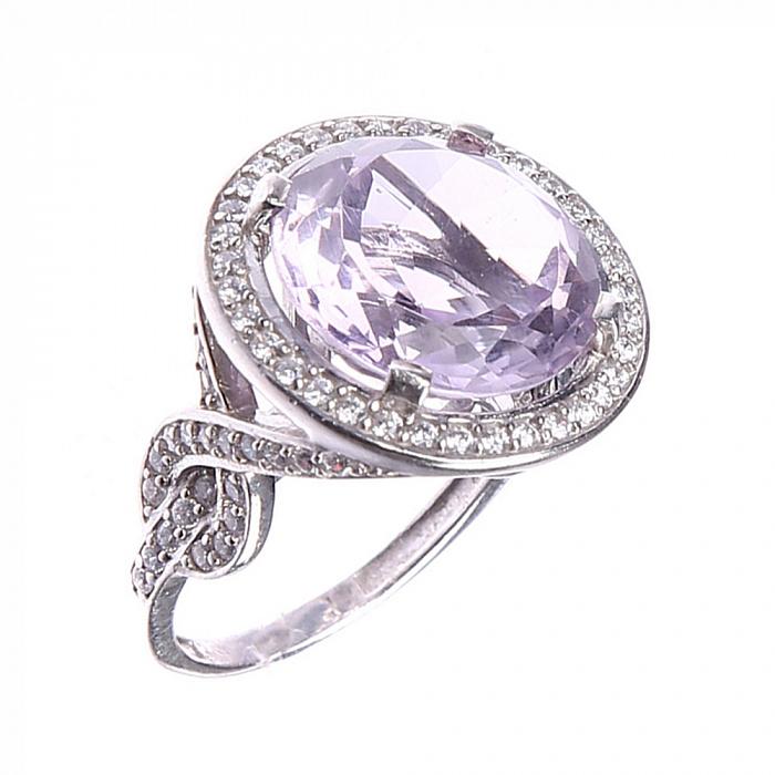 Серебряное кольцо Мадрит с узорами, аметистом и фианитами 000079702