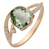 Золотое кольцо Гретхен с аметистом и фианитами