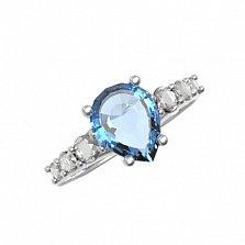 Серебряное кольцо Элиза с голубым кварцем и фианитами