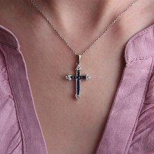Золотой крестик Деус с сапфирами и бриллиантами