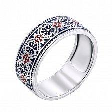 Серебряное кольцо с синей и красной эмалью 000133344
