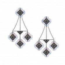 Серебряные серьги-конструктор Лакшери с перламутром и черным цирконием