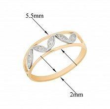 Золотое кольцо Лепестки в комбинированном цвете с узорной шинкой и белыми фианитами
