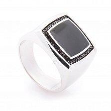 Перстень в белом золоте Марк с черным ониксом и фианитами