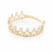 Кольцо-корона из желтого золота Королева любви с фианитами
