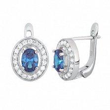 Серебряные серьги с голубыми фианитами Вистилия
