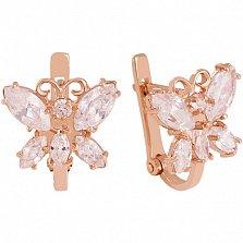 Золотые серьги с фианитами Бабочки