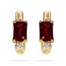 Золотые серьги Паула с синтезированным рубином и фианитами