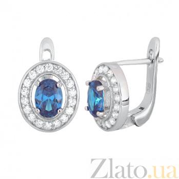 Серебряные серьги с голубыми фианитами Вистилия SLX--СК2ФЛТ/482