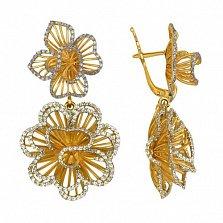 Серьги из желтого золота с цирконием Зимние розы