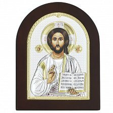 Икона на деревянной основе Спаситель с позолотой и эмалью, 13х17