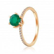 Кольцо в красном золоте Тамила с зеленым ониксом и фианитами