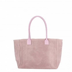 Кожаная сумка на каждый день Genuine Leather 7804 нежно-розового цвета на молнии и магнитной кнопке