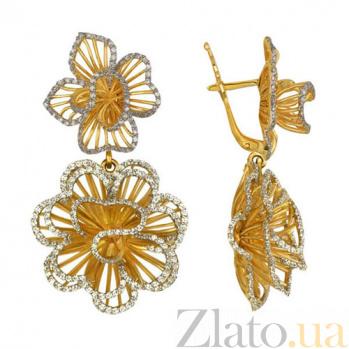 Серьги из желтого золота с цирконием Зимние розы VLT--ТТ2218-1