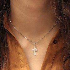 Серебряный крестик Хранитель с узорной основой, распятием и надписью Спаси и Сохрани