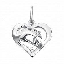 Серебряный кулон-сердечко Прикосновение любви с кристалом циркония