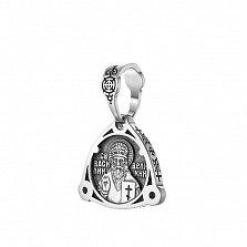 Серебряная черненая ладанка св. Василий Великий с молитвой на тыльной стороне
