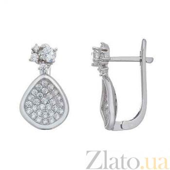 Серебряные женские серьги с цирконами Ольга AQA--XJT-0018-E