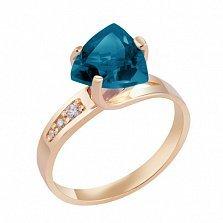 Кольцо в красном золоте Марта с лондон топазом и фианитами