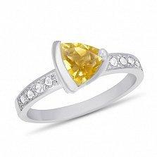 Кольцо из белого золота Марлена с цитрином и фианитами