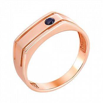 Перстень-печатка из красного золота с фианитом 000140562