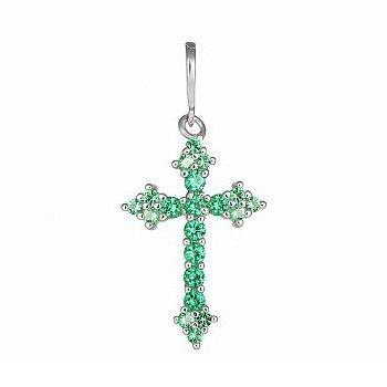 Серебряный крестик с зелеными фианитами 000028596