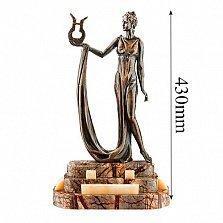 Бронзовая скульптура Эрато на подставке из яшмы и оникса
