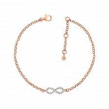 Золотой браслет Бесконечная линия в красном цвете с бриллиантами