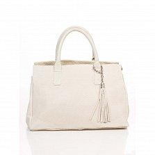 Кожаная сумка на каждый день Genuine Leather 8907 бежевого цвета на молнии, с декоративной кистью
