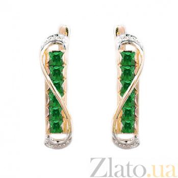 Золотые серьги с бриллиантами и изумрудами Амина ZMX--EE-6197_K