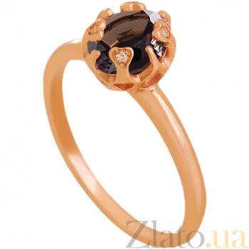 Золотое кольцо Моник с раухтопазом и фианитами 000029470
