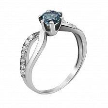 Серебряное кольцо Дина с узорной шинкой, лондон топазом и фианитами