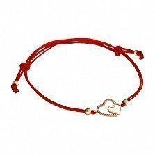 Шелковый браслет Яна в красном золоте с фианитами