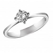 Золотое помолвочное кольцо Федерика в белом цвете с бриллиантом