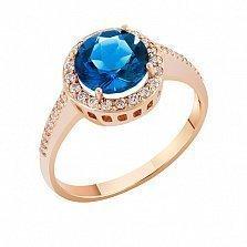 Кольцо в красном золоте Келли с лондон топазом и фианитами