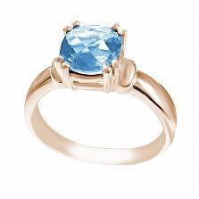 Кольцо в красном золоте София с голубым топазом