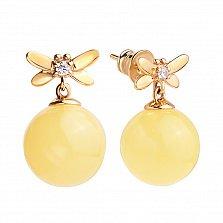 Позолоченные серебряные серьги Милая стрекоза с лимонным янтарем и фианитами