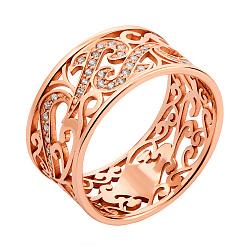 Золотое кольцо Le Louvre в красном цвете с фианитами