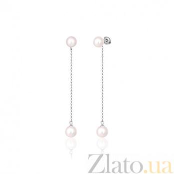 Серебряные серьги-подвески с жемчугом Консуэлла SLX--С2Ж/855