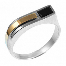 Серебряное кольцо с золотой вставкой и ониксом Бигсан
