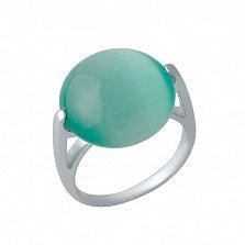 Серебряное кольцо Чеслава с зеленым кошачьим глазом