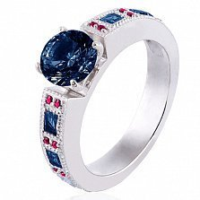 Золотое кольцо в белом цвете Виктория с сапфирами и рубинами