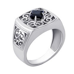 Перстень-печатка из белого золота с сапфиром 000139226
