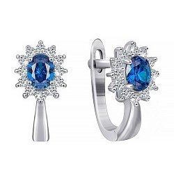 Серебряные серьги Анкария с синими и белыми фианитами