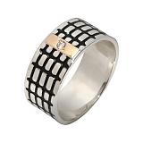 Серебряное кольцо Бродвей с золотой накладкой, эмалью и фианитом