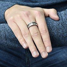 Серебряное кольцо Инкогнито с фактурной шинкой и чернением