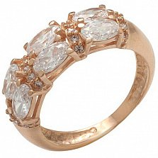 Золотое кольцо Аделина с фианитами